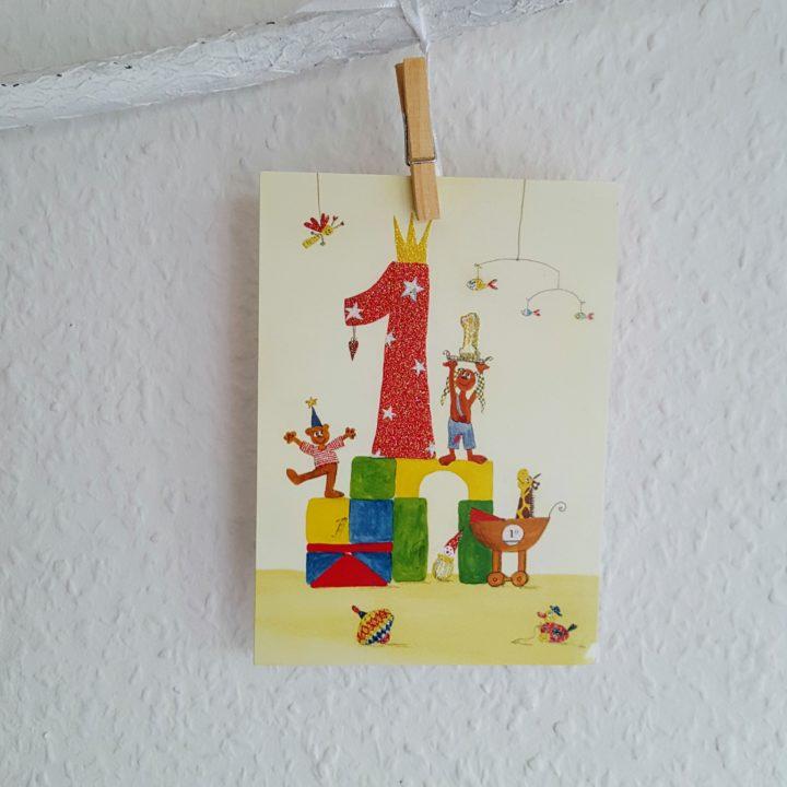 Karte 1. Geburtstag Frau Piefke schreibt