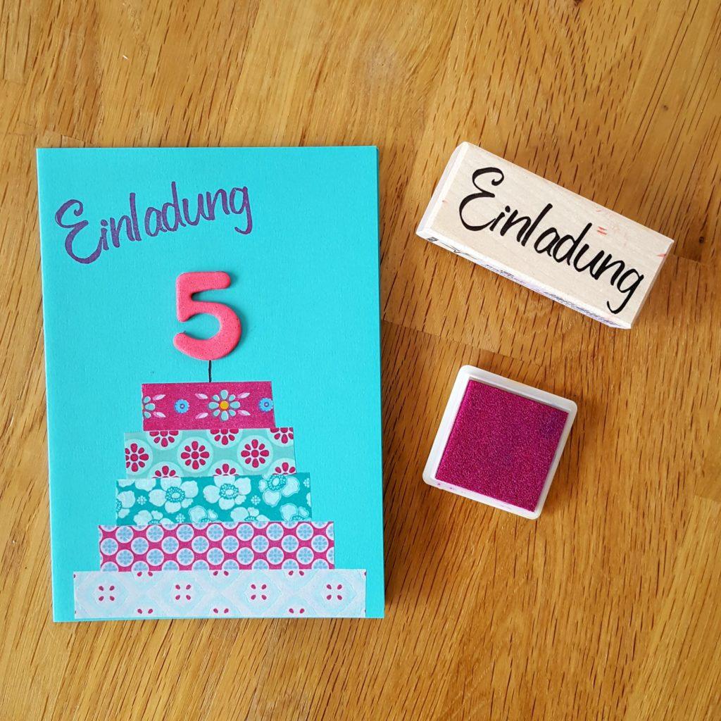 DIY mit Stempel Geburtstagseinladung
