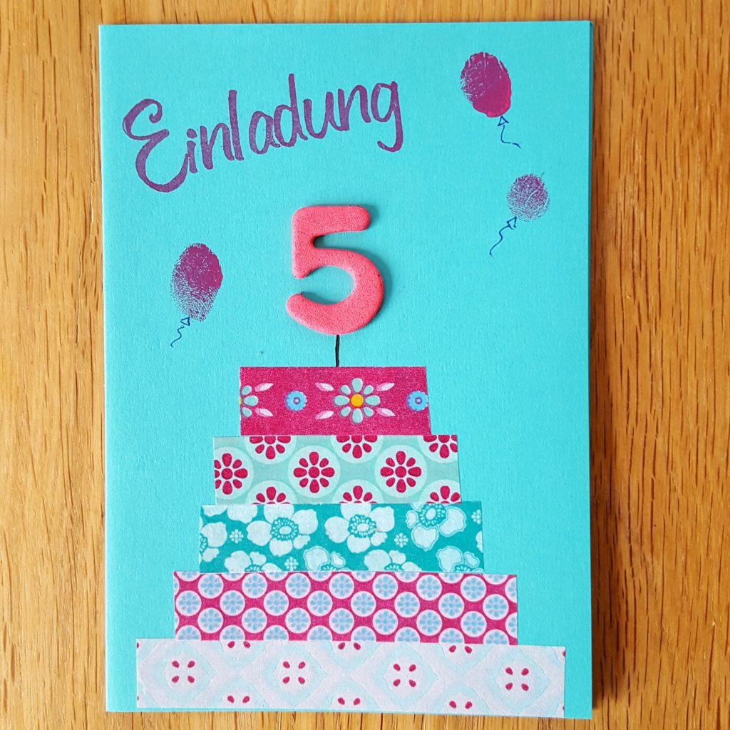 Einladungskarte zum 5. Geburtstag selber basteln Frau Piefke schreibt