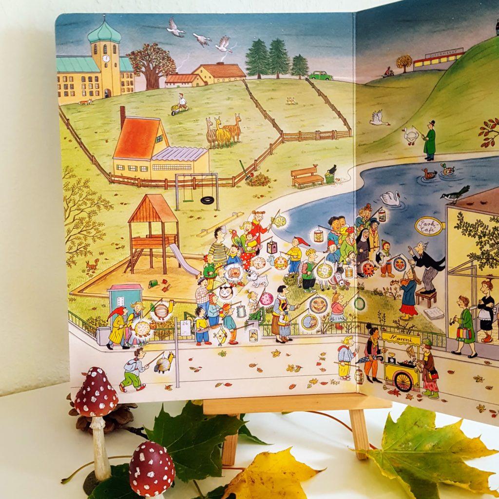Herbst Wimmelbuch Berners Buch innen Frau Piefke schreibt