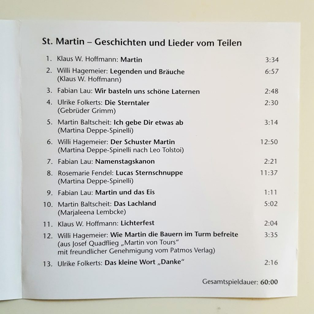 Sankt Martin CD Lieder und Geschichten Frau Piefke schreibt